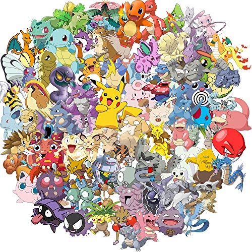 Pokemon Stickers Best Gift for Kids Children Teens Cartoon Stickers Pack for Home Decor Diary Hydro Flasks Water Bottle Graffiti Japanese Anime Stickers 100pcs