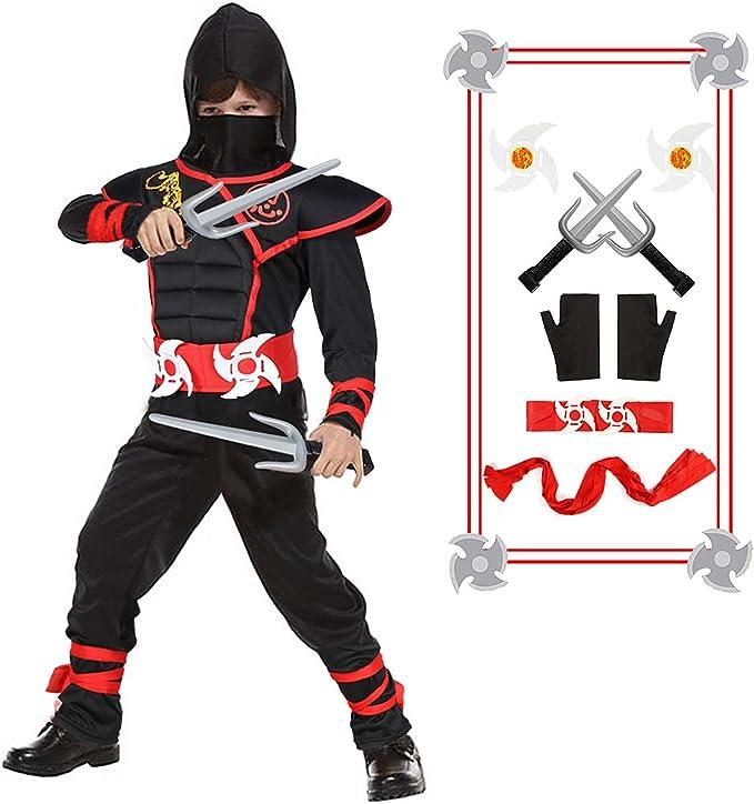 Amazon.com: Disfraz de ninja para niños con dagas de ninja y ...