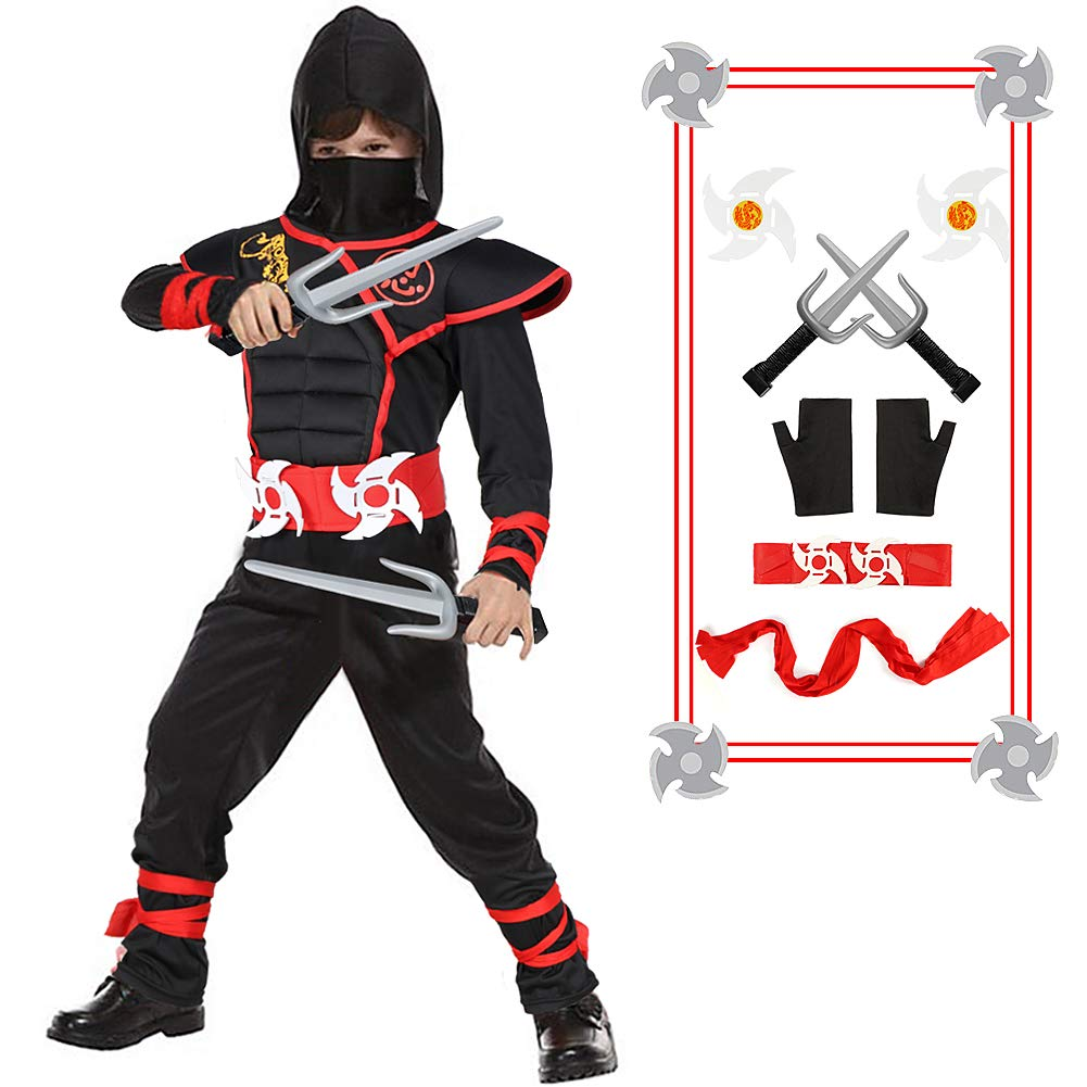 Kids Ninja Costume with Ninja Daggers and Throwing Stars Red Black Ninja Outfit Halloween Role Play for Boys & Girls(L)