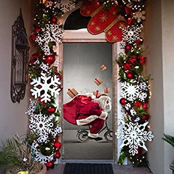 3d garage door covers christmas decorations outdoor wall for Outdoor christmas wall decorations