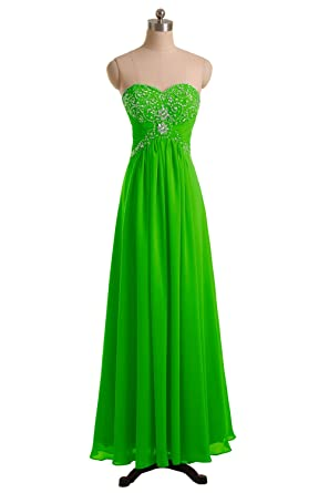 49ed55604c4 DINGZAN Evening Formal Wedding Guest Dresses Ankle Length Bridesmaid Gowns  Chiffon With Bead 2 Apple Green
