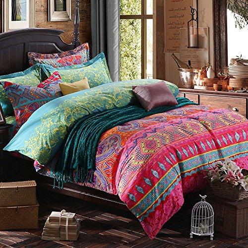 TideTex 4 Piece Boho Vintage Bedding Set Colorful Floral Ornament Duvet  Cover Sets Fashion Rural Ethnic Flower Pattern Bedding 4PC Home Textiles  (King, ...