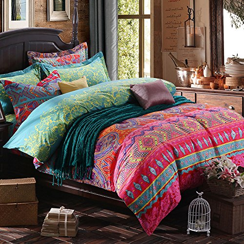 Tidetex 4 Piece Boho Vintage Bedding Set Colorful Floral Ornament Duvet Cover Sets Fashion Rural Ethnic Flower Pattern Bedding 4Pc Home Textiles  King  Photo Color