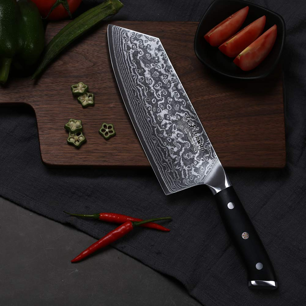 TURWHO Cleaver Knife - Japanese VG-10 Damascus Steel - Chinese Chef's Knife for meat and vegetable with Ergonomic G10 Handle - 7.5'' by TURWHO (Image #5)