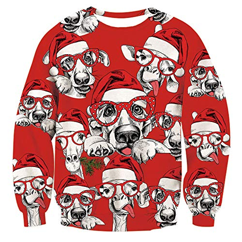 Goodstoworld Christmas Dog Sweater Ugly Unisex Womens Tops
