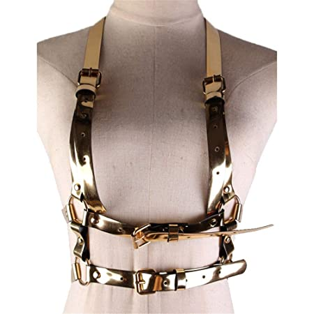 Arnés De Tiras Ajustable para Mujer Womens Shiny Faux Leather Punk ...