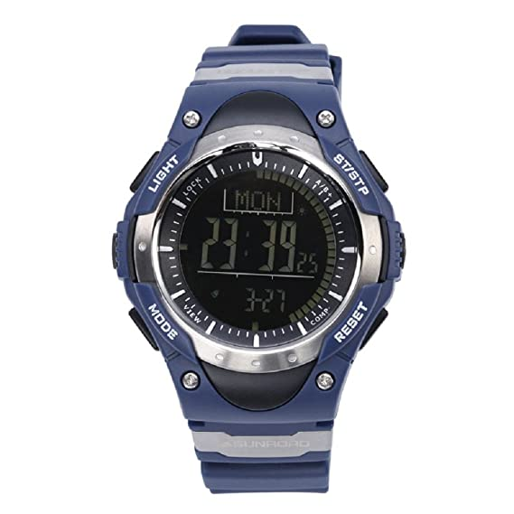 Sunroad fr826b al aire libre deporte digital Hombres Reloj Redondo horas Causal Running relojes altímetro barómetro Brújula Termómetro de tiempo podómetro ...
