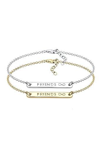 Elli Damen Schmuck Armband Gliederarmband Friends Forever  Freundschaftsarmbänder Freundschafts-Set Silber 925 Vergoldet Länge 17 a773fe8e03