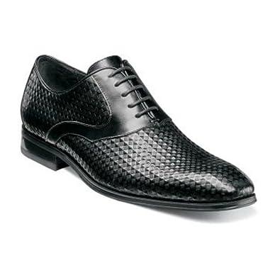Fidello Black Plain Toe Oxford Diamond Print Leather Dress Shoes
