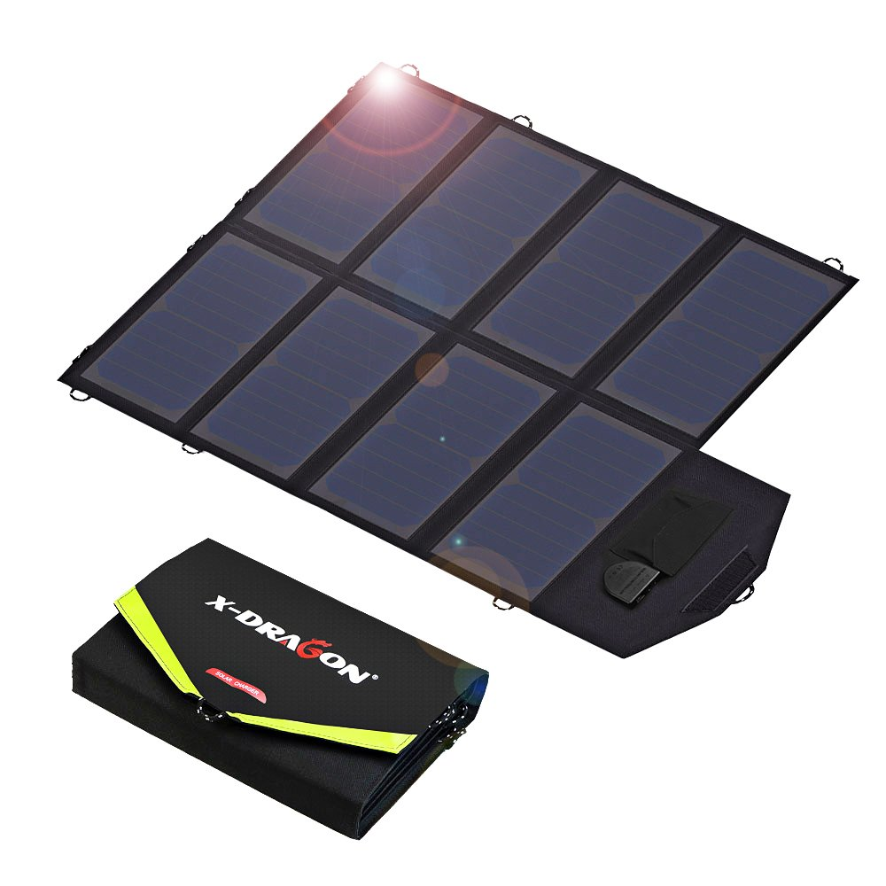 Solar Charger, X-DRAGON 40W SunPower Solar Panel Charger (5V USB with SolarIQ + 18V DC) Water Resistant Laptop Charger for Phone, NoteBook, Tablet, Apple, iPhone, iPod, Samsung, Android Smartphones by X-DRAGON (Image #1)