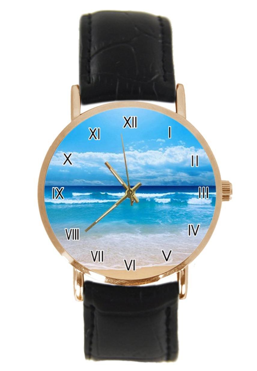 jkfgweeryhrt New Simple Fashion Beach Ocean Sand Steel Leather Analog Quartz Sport Wrist Watch