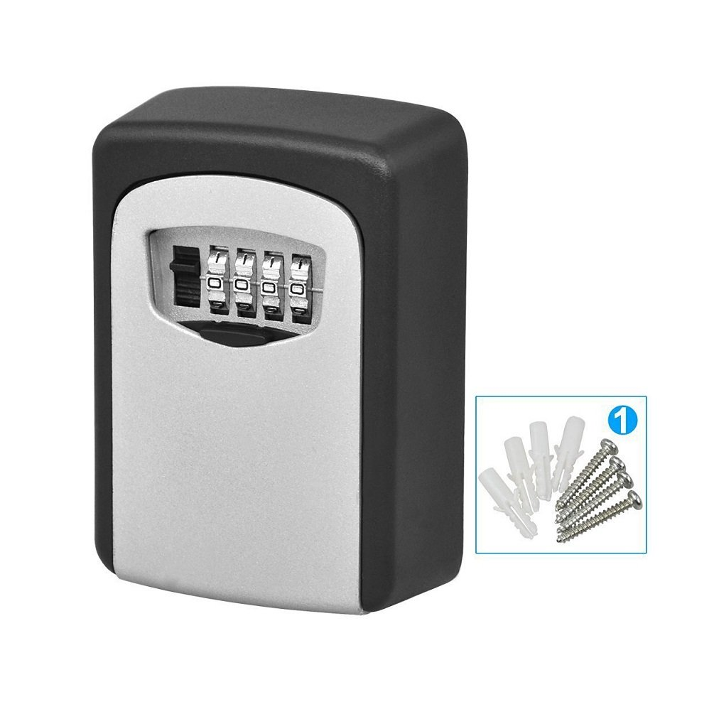 Gracesy Combination Key Safe Box-Key Lock Box Wall Mounted 4 Digit Weather Resistant Key Storage Box for Indoors or Outdoors Holds up to 5 Keys Secure Box Keys Holder