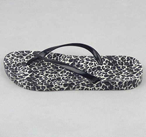 Easemax Womens Sexy Thong Leopard Prints Flip Flop Slippers Sandals White 1 no9cSOynV