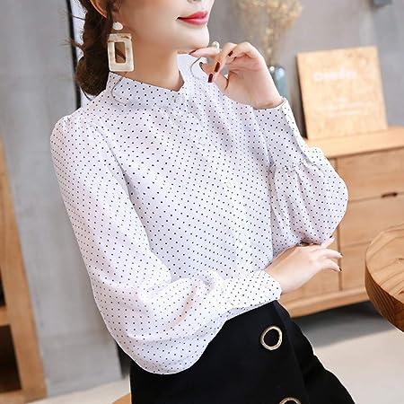 KCMCY Blusas Blusa De Primavera Mujer Camisa Blanca Camisa De Manga Larga Femenina Señora De La Oficina Tocando Fondo, S: Amazon.es: Hogar