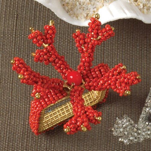 Coral Napkin Ring - Fennco Styles Hand Beaded Coral Napkin Rings, 4 Pieces (Coral)