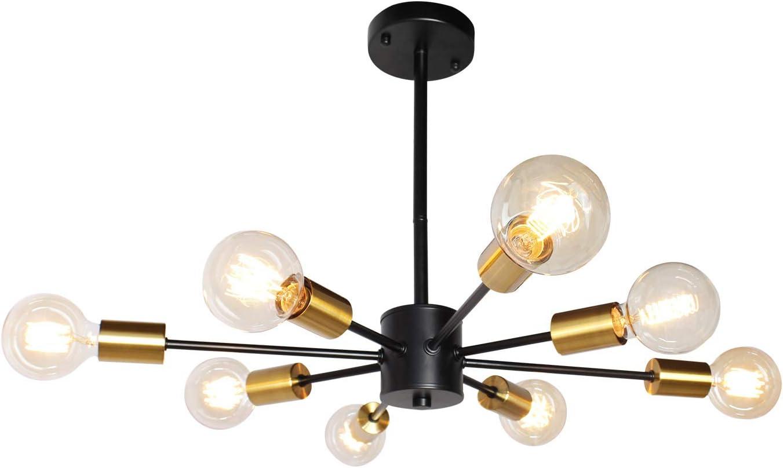 JHLBYL Candelabro Sputnik Moderno 8 Luces Luz de Techo Lámpara Colgante Oro Negro Vintage Accesorio de luz Colgante Para Dormitorio, Sala de Estar, Comedor