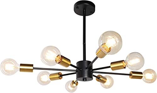 JHLBYL Sputnik Chandeliers 8 Lights Modern Pendant Lighting Black Vintage Semi Flush Ceiling Light Fixture