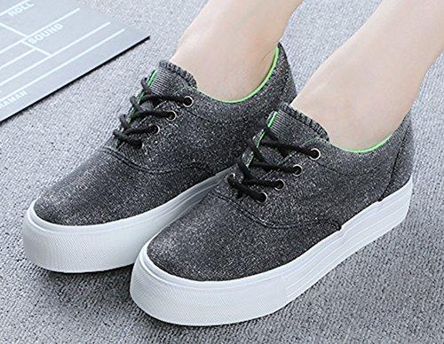 Aisun Womens Altezza Che Aumenta Le Scarpe Sneakers In Tela Grigio Scuro