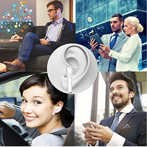Wireless Headphone Bluetooth Headsets with Microphones Surround Sound Stereo for Running & Fitness Bluetooth 4.2 technology compatible with any phone and computer - Pure White by GJFeng Tech (Image #5)