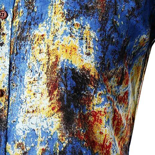 Slim Malloom Hommes Longues Imprimées Automne Casual Blouse Manches Personnalité De Haut Bleu Chemise OqnTT5BP