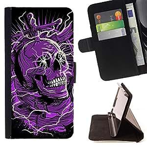 """Bright-Giant (Cráneo púrpura Negro Muerte eléctrico Dead"""") Modelo Colorido Cuero Carpeta Tirón Caso Cubierta Piel Holster Funda Protección Para Apple (4.7 inches!!!) iPhone 6 / 6S"""
