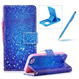 Wallet Case for iPhone SE,Bookstyle Strap Portable PU Leather Flip Smart Cover for iPhone 5S,Herzzer Fashion Premium [Blue Glitter Sands Pattern] Magnetic Holster Card Holder Stand Leather Protective Mobile Skin with Soft Inner for iPhone SE/iPhone 5/5S + 1 x Free Blue Cellphone Kickstand + 1 x Free Blue Stylus Pen