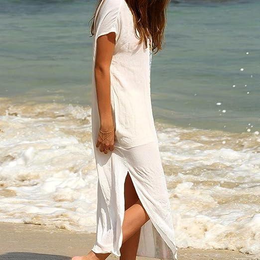 Vestido de fiesta mujer, Amlaiworld Traje de baño de playa de verano de mujeres Bikini bordado Cover Up Vestido largo de manga corta Bañador Túnica ...