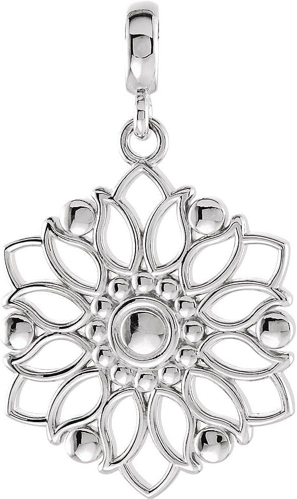 DiamondJewelryNY Sterling Silver Decorative Dangle Pendant