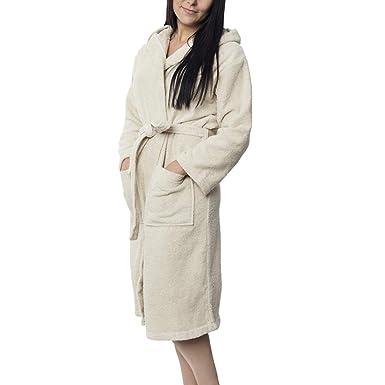 Twinzen Peignoir de Bain 100% Coton avec Capuche pour Femme Certifié Oeko  TEX - Robe de Chambre 2 Poches, Ceinture et Boucle d Accroche - Doux,  Absorbant et ... 6490189d026