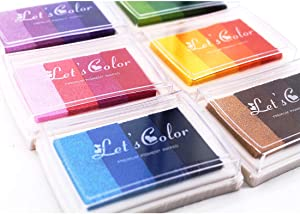 Ink Stamp Pads, Finger Print Craft Stamp Pads, Washable Ink Pads Rainbow Set of 6 DIY Multicolor Craft Stamp Pad Washable 24 Colors-Thanksgiving, Halloween, Christmas, New Year Party Supplies