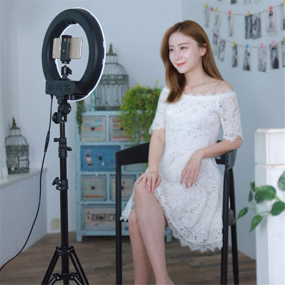 Ca Makeup Vlog Live Stream Selfie Ring Light LED Ringlight Flashes Video Ring Fill Light Camera Flash Light Led Mobile Phone Self-timer Live Light With Tripod Stand 14 Inch for Selfie YouTube
