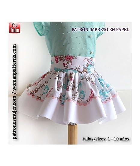 Patrón de costura falda niña con vuelo y vídeo-tutorial para ...