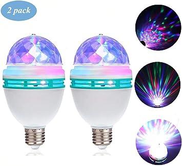Iluminaci/ón LED de escenario Colorido Auto giratorio 3w Mini E27 Bombilla RGB para barra Iluminaci/ón KTV Bola de cristal Etapa Luz led