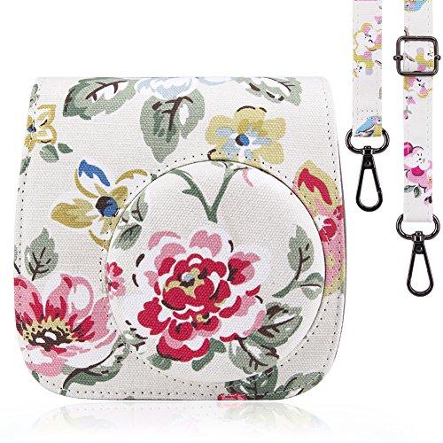 Fujifilm Instax Mini 8 / Mini 8 + / Mini 9 Case Bag - Wolven Designed Flower Floral Case Bag Purse For Fujifilm Instax Mini 8 / 8+ / 9 - White Flower