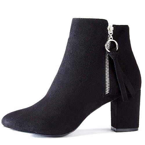 Zapatos de Tacón Alto Mujer de Primavera - Gamuza Ankle Boots Martin Boots para Mujer, Botines Tacón 6 CM: Amazon.es: Zapatos y complementos