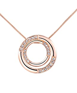 joyliveCY Women Charm Jewerly Pendant Rose Gold Plated Necklace Bicyclic Chain Necklace