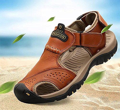Sandal in Traspirante estive Marrone Beach Fisherman Pantofole da Uomo Sandali Pelle Sportivi Sport wxT4qwPUB