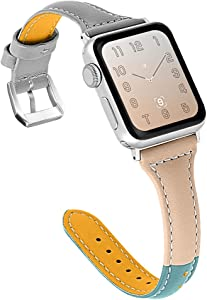 OULUCCI Compatible for Apple Watch Band 38mm 40mm, Genuine Leather Replacement iWatch Wristband Strap with Metal Buckle for iWatch Series 6 5 4 3 2 1 SE, Slim Design for Women Men