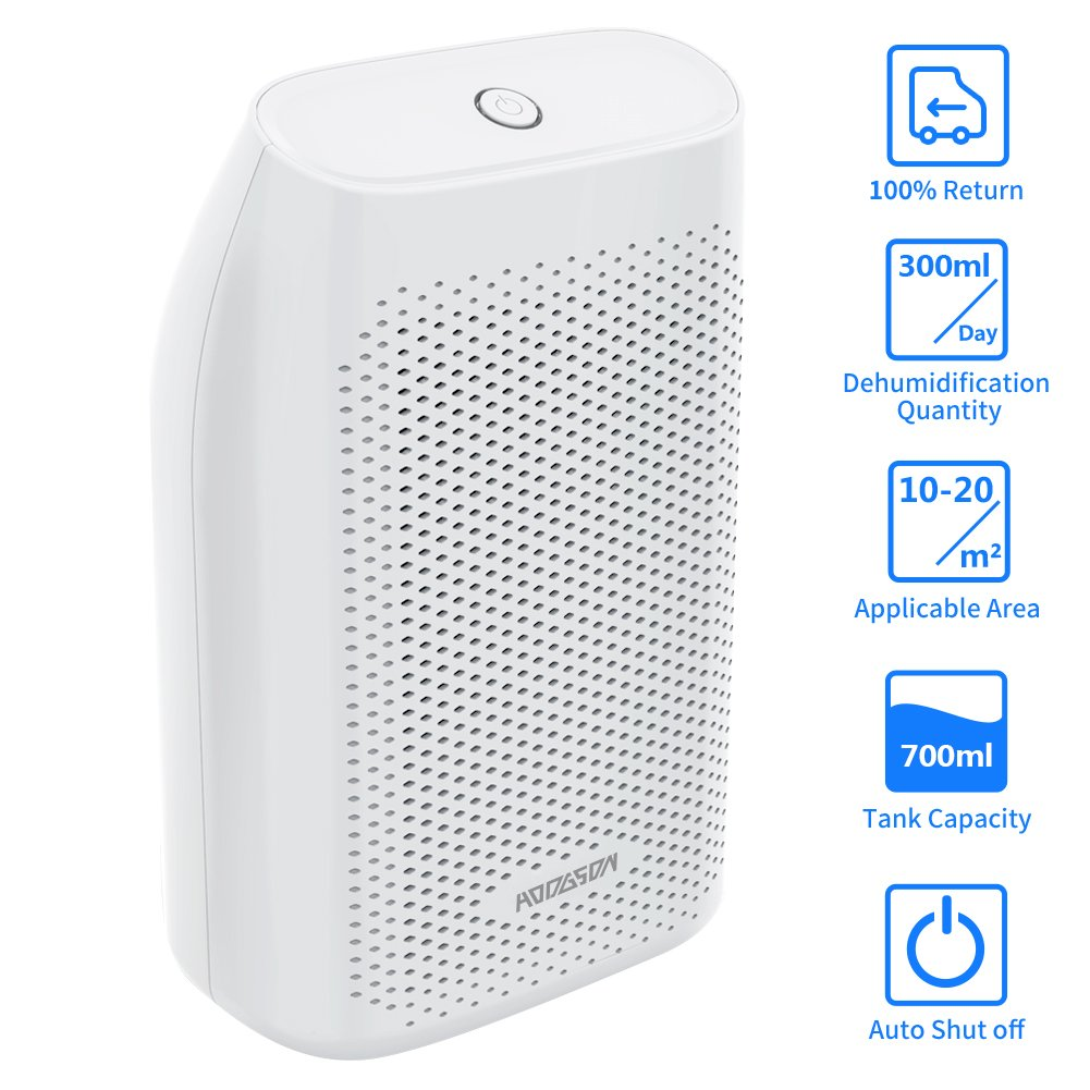 HODGSON Auto Small Dehumidifier 200 Sq Ft 700ML Tank Portable Large Capacity Ultra Quiet Thermo-Electric Mini Dehumidifiers Home Basements Bathroom Bedroom Garage Closet Wardrobe, White