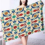 PRUNUS 100% Cotton Super Absorbent Bath Towel Nostalgic Islamic Art Motifs with Floral Ornaments with Baroque Inspirations Ethnic Design Multi Fast Drying, Antibacterial