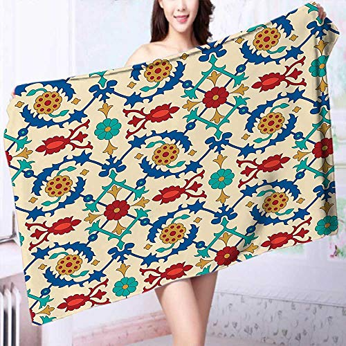 PRUNUS 100% Cotton Super Absorbent Bath Towel Nostalgic Islamic Art Motifs with Floral Ornaments with Baroque Inspirations Ethnic Design Multi Fast Drying, Antibacterial by PRUNUS