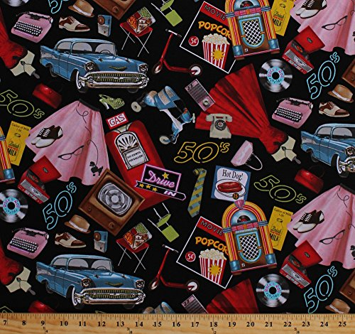 Blank Quilting Fabric (Cotton Rock Around the Clock 50's Cars Jukebox Diner Typewriters Dresses Vinyl Records Television Vintage Black Cotton Fabric Print by the Yard (8216-099))