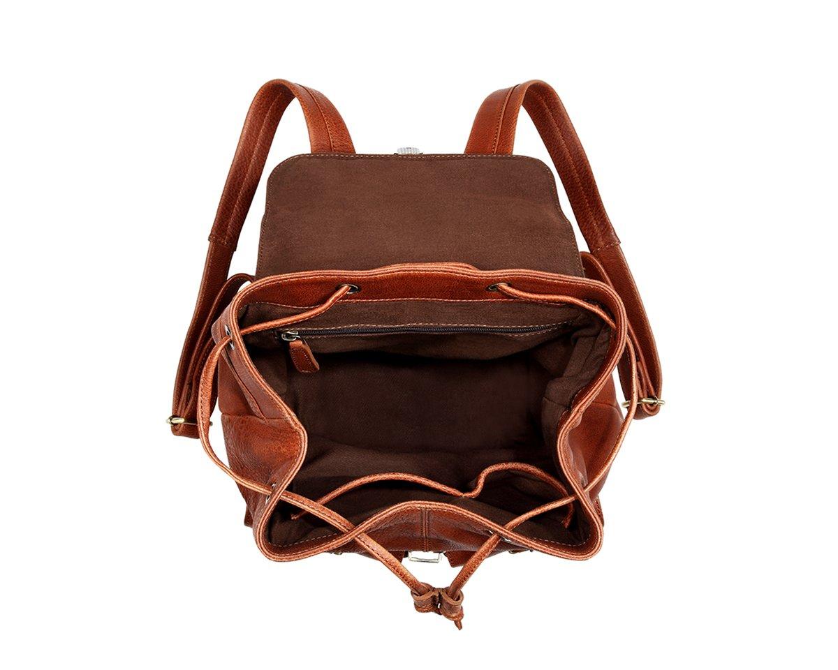 TheCultured Leather Front Pocket Backpack Shoulder Bag in Tan by LederMann (Image #4)
