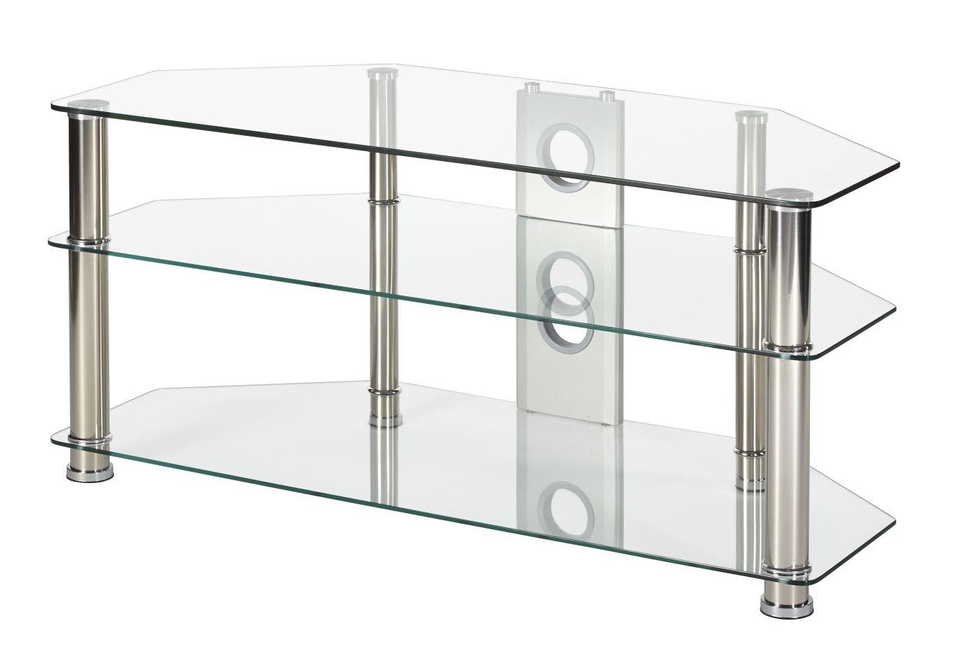 Supporto per TV in vetro trasparente 105 cm di larghezza argento cromato gamba per 81, 3 cm a 127 cm schermi LED smart TV LCD 3cm a 127cm schermi LED smart TV LCD MMT P5CCH1050