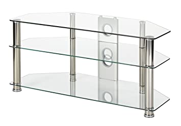 Clear Glass Tv Stand 105cm Wide Chrome Silver Leg For Amazon Co Uk