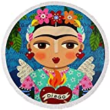 Pixels Round Beach Towel With Tassels featuring ''Frida Kahlo Angel And Flaming Heart'' by LuLu Mypinkturtle