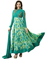 AnK Women's Turquoise Printed Embroidered Anarkali Semi Stitched Salwar Suit with Plain Dupatta