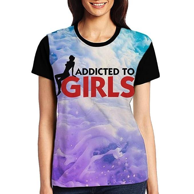 70b95c863 Amazon.com: Shenghong Lin Addicted To Girls Women's Round Tee Short Sleeved  T-Shirt Casual Tops: Clothing