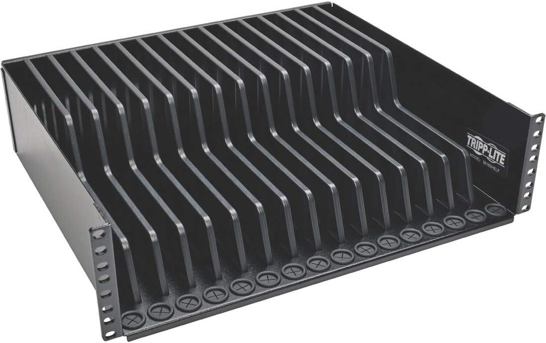 Tripp Lite 3U Rack Mount Tablet iPad Laptop Chromebook Storage Shelf for Racks SR16SHELF Black