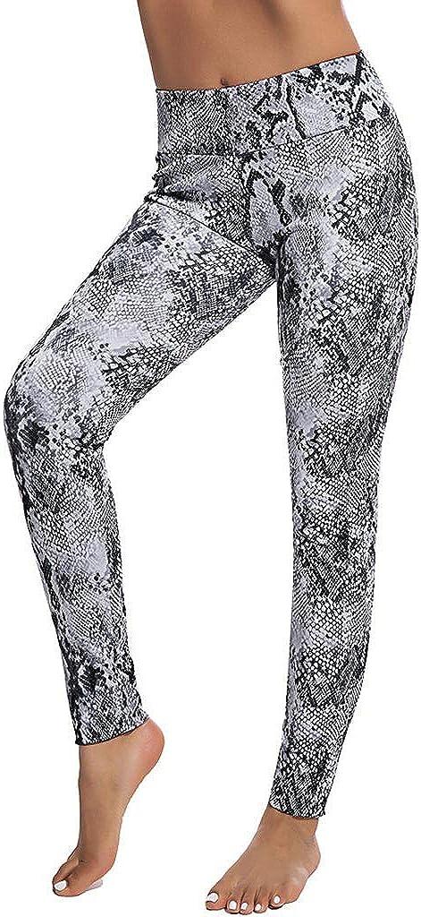 JURTEE Femme Serpent Imprim/é Yoga Legging Pantalon Longue Taille Haute /ÉLastique Workout Gym Fitness Pants Push Up Yoga Fitness Gym Pilates